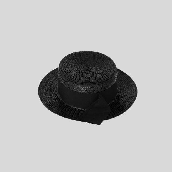 Saint Laurent サンローラン スモールボーターハット ブラック Small Boater Hat black