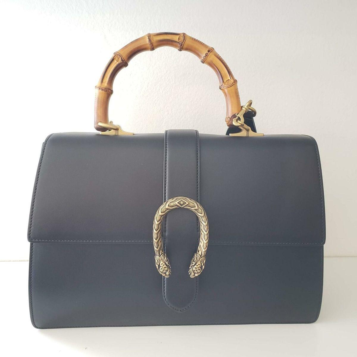 Gucci グッチ ディオニュソス ラージ バンブー トップ ハンドル レザー バッグ ブラック Dionysus Large Bamboo Top Handle Leather Bag | Black | NEW