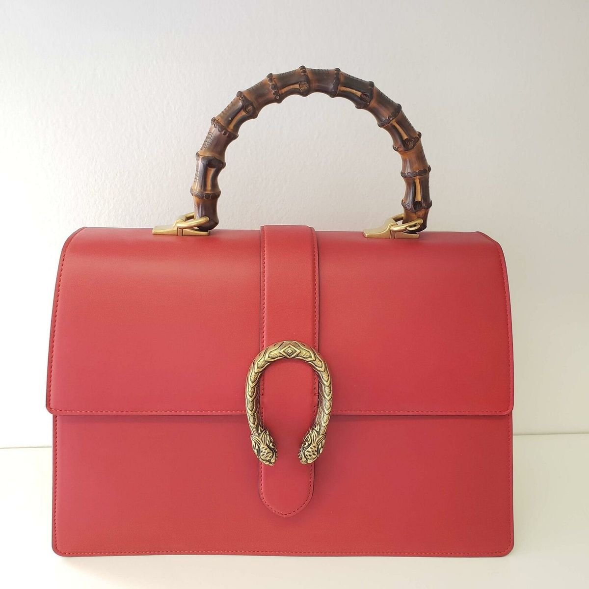 Gucci グッチ ディオニュソス ラージ バンブー トップ ハンドル レザー バッグ レッド Dionysus Large Bamboo Top Handle Leather Bag   Red   NEW