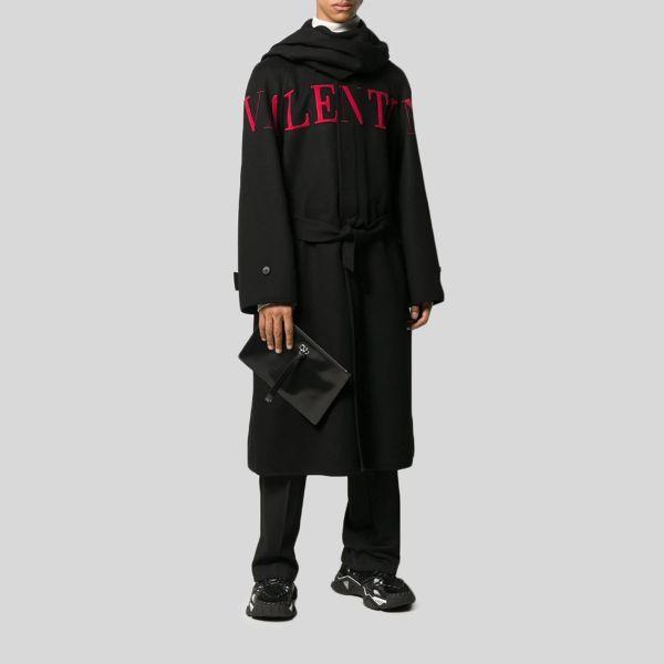 Valentino ヴァレンティノ ウール カシミア ロゴ マキシ コート Wool-Cashmere Logo Maxi Coat