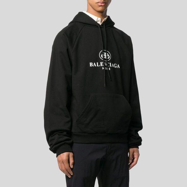 Balenciaga バレンシアガ ブラック フーディ スウェットシャツ ウィズ ロゴ Black Hoodie Sweatshirt With Logo