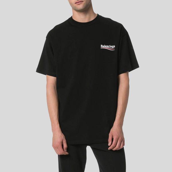 Balenciaga バレンシアガ ブラックバレンシアガロゴプリントTシャツ Black Balenciaga Logo Print T-Shirt