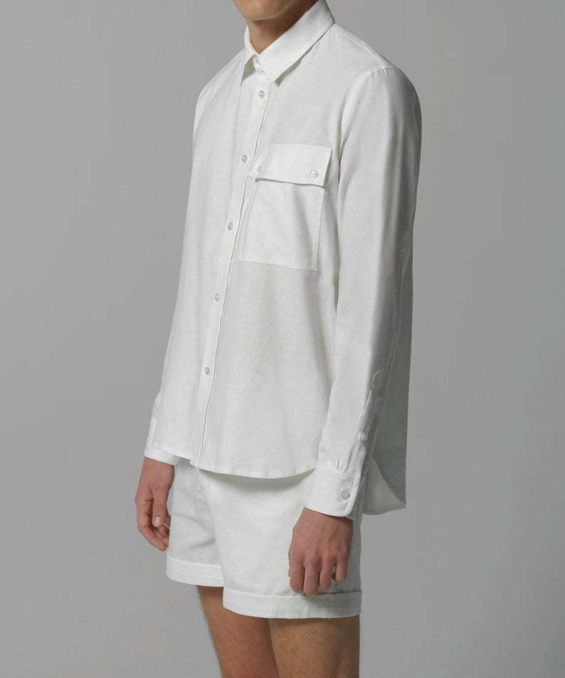 100%ハンドメイドの新規高級ブランドMACLOU VISALTES ヴィサルテス リネン メンズ 誕生日/お祝い ダブルポケット ボタンアップシャツ Pocket Double お買い得品 Up Linen Shirt Button Men's