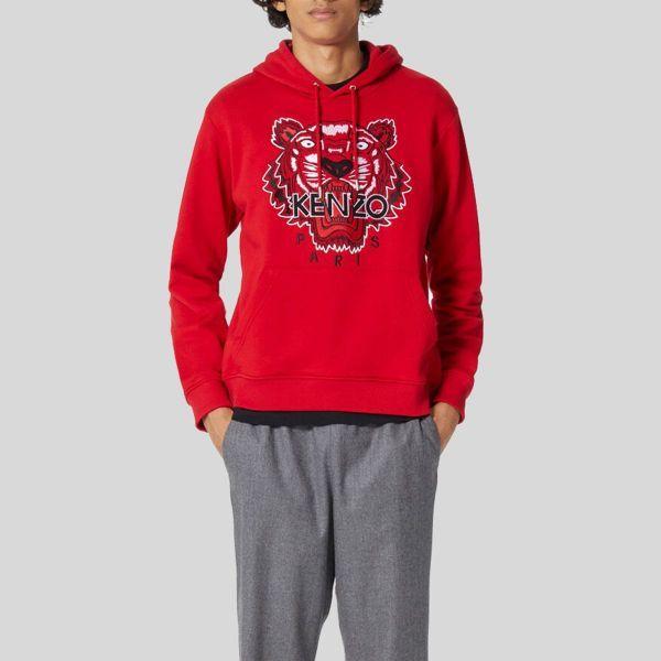 虎の刺繍が印象的でカジュアルに着こなせる一品 Kenzo ケンゾー レッド タイガー パーカー Hoodie Red Tiger 新品 送料無料 トレンド スウェットシャツ With Sweatshirt