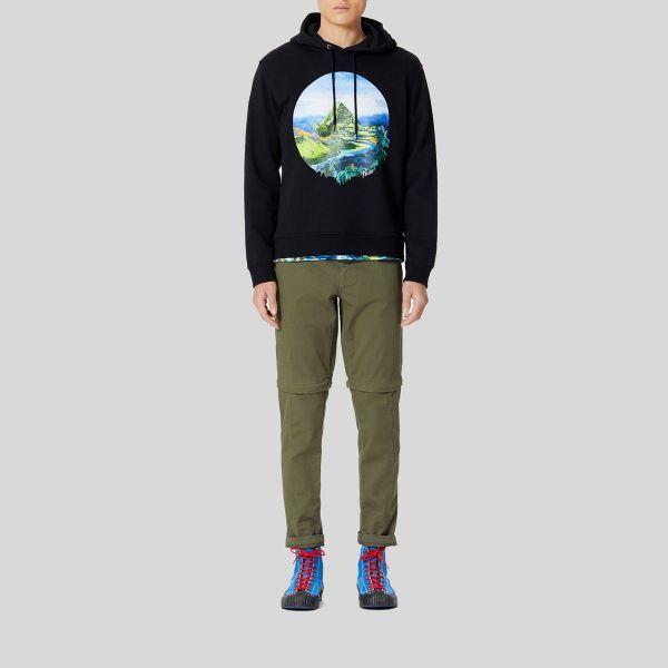 個性があってトレンディな大人気ブランドです Kenzo ケンゾー フーディー スウェッター ウィズ グラフィック 安売り プリント お買い得 Graphic With Hoodie Sweatshirt Print ブラック black
