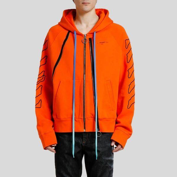 Off white オフホワイト アブストラクト アローズ ダブルジップフーディー スウェットシャツ Abstract Arrows Double-Zip Hoodie Sweatshirt