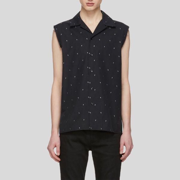 Saint Laurent サンローラン ブラック&シルバー ラメ スリーブレス シャツ Black & Silver Lam・・ Sleeveless Shirt