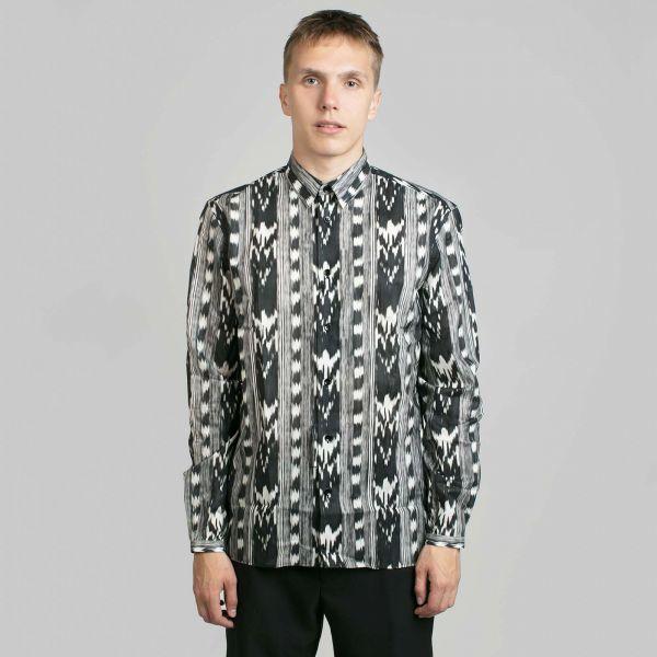 Saint Laurent サンローラン イカット プリント ブラックシャツ Ikat-Printed Black Shirt
