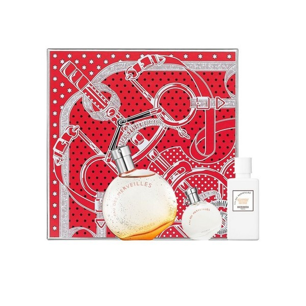 Hermes エルメス オーデメルべイユ セット (オードトワレ+オードトワレ+モイスチャーボディローション)Eau Des Merveilles Set (EDT 50ml + EDT 7.5ml + Moisturizing Body Lotion 40ml)