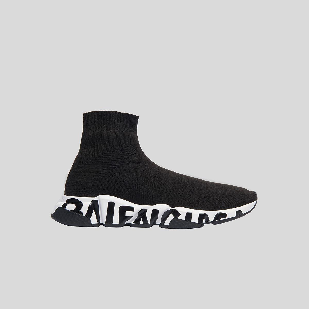 BALENCIAGA バレンシアガ ブラック/ホワイトスピードスニーカーグラフィティ Black/White Speed Sneaker Graffiti