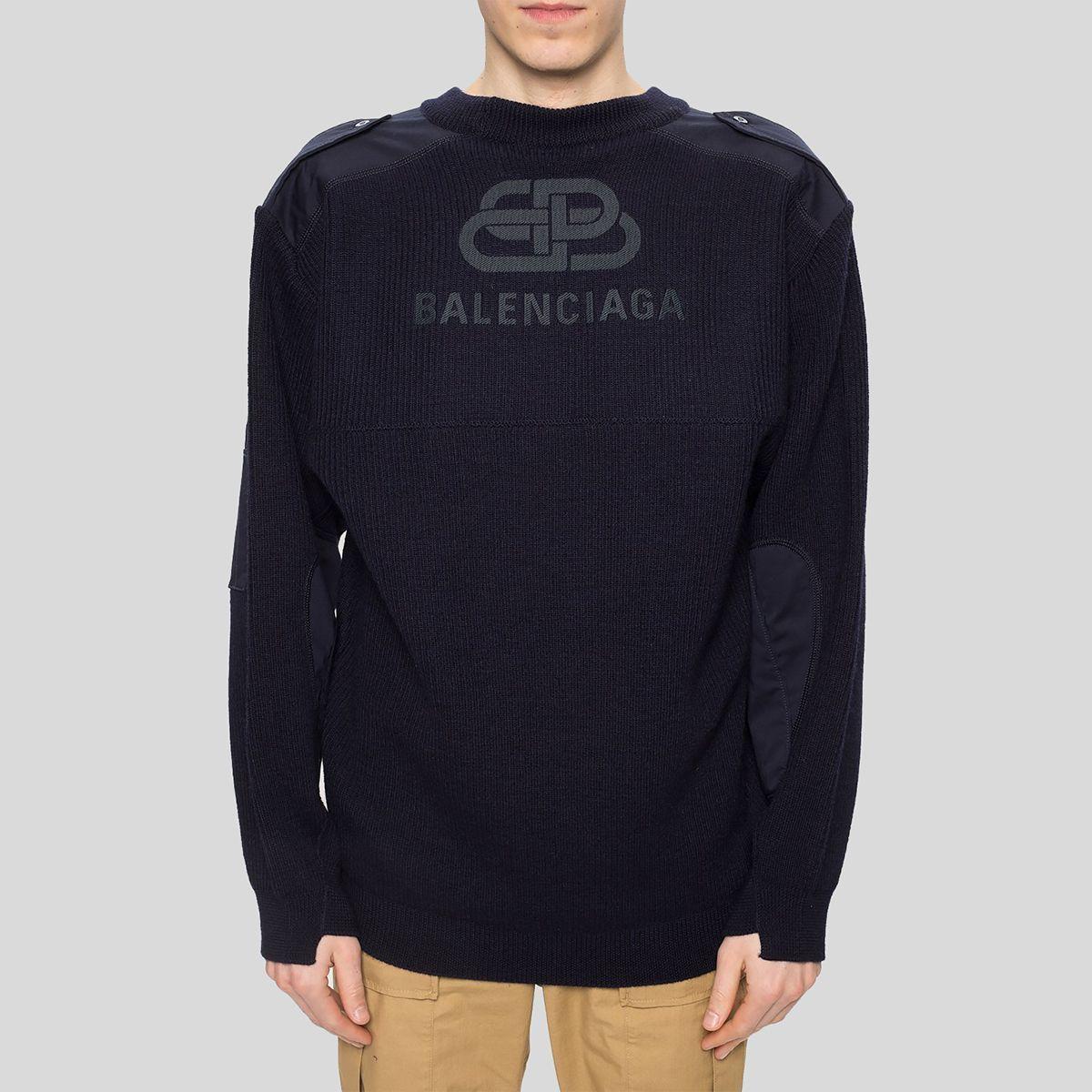 BALENCIAGA バレンシアガ ニット スウェーター ウィズ ロゴ ネイビーブルー  Knitted Sweater With Logo Navy Blue