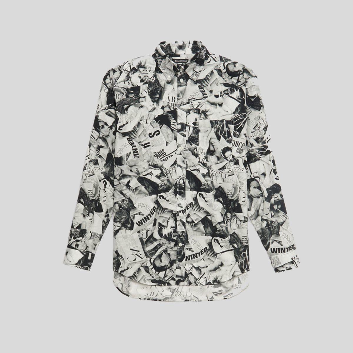 BALENCIAGA バレンシアガ エルマガジンプリントシャツ Ls Magazine Print Shirt