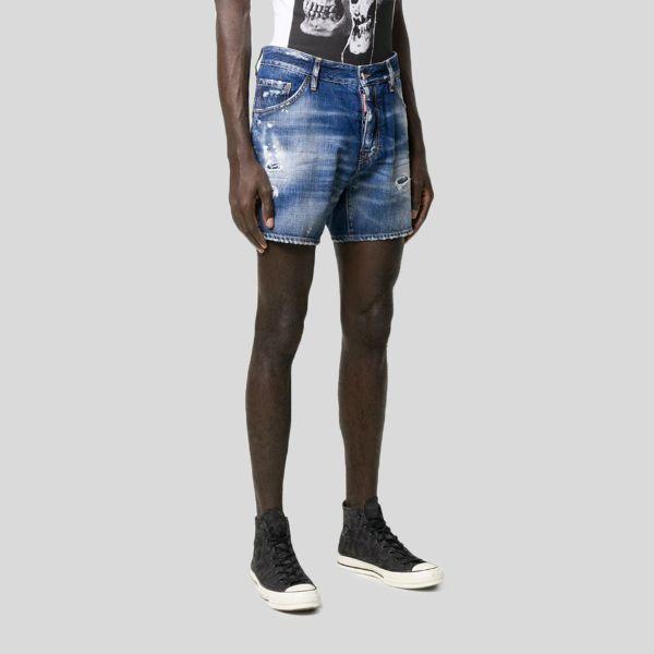 DSQUARED2 ディースクエアード ディストレスト エフェクトデニムショートパンツ Distressed Effect Denim Shorts
