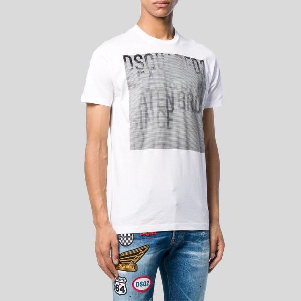 DSQUARED2 ディースクエアード ロゴストライプスクエアティーシャツ Logo Striped Square T-Shirt
