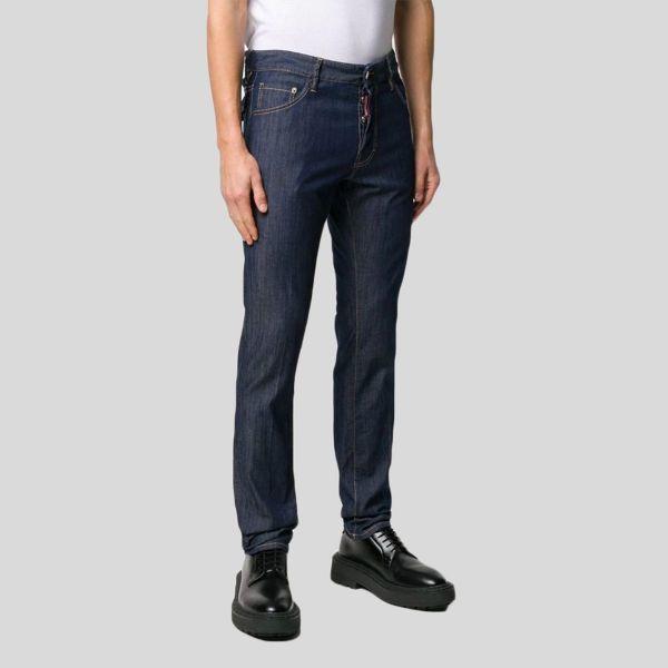 DSQUARED2 ディースクエアード ダークブルーストレッチコットンスリムジーンズ Dark Blue Stretch Cotton Slim Jeans