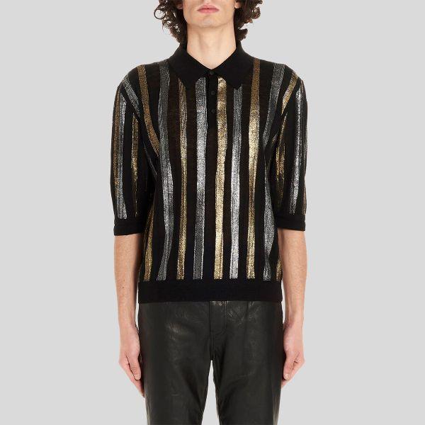 SAINT LAURENT サンローラン メタリック ストライプ ポロシャツ Metallic Stripe Polo Shirt