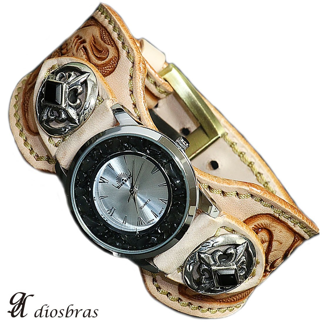 【diosbras-ディオブラス-】本革サドルレザー手彫りカービング カスタムウォッチ レザーウォッチ コンチョ 腕時計 シルバー925 ヌメ革 バイカー 牛革時計 ナチュラル ヌメ革