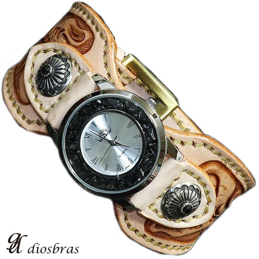 【diosbras-ディオブラス-】本革サドルレザー手彫りカービング カスタムウォッチ レザーウォッチ メンズ ベルト コンチョ 腕時計 シルバー925 ヌメ革 バイカー 牛革時計 インディアン  ナチュラル