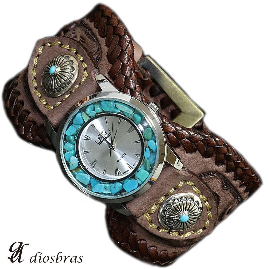 【diosbras-ディオブラス-】本革サドルレザー手彫りカービング カスタムウォッチ レザーウォッチ コンチョ 腕時計 シルバー925 ヌメ革 バイカー 牛革時計 インディアン メンズ ベルト ブラウン 茶