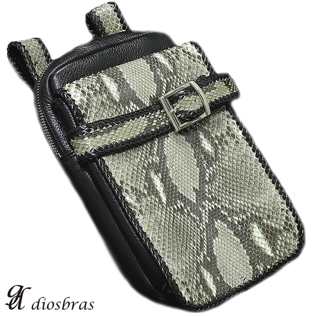 【diosbras-ディオブラス-】本革 サイドバック ダイヤモンドパイソン使用 蛇革 ウエストバック 牛革 ウォレットホルダー サイドバック 携帯 タバコ ケース