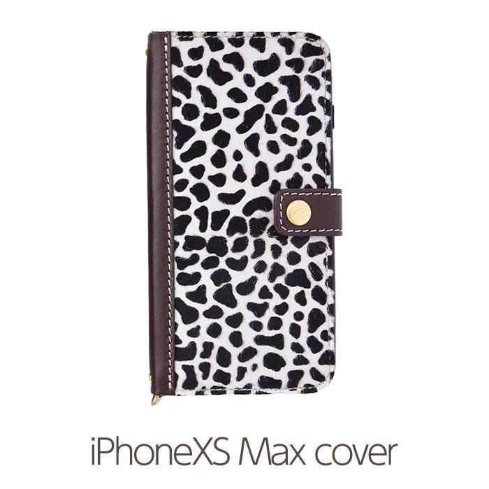 【Diral】手帳型 iPhoneXS Max ケース/iPhoneXS Maxケース メンズ/レディース ハラコ (本革/レザー/ヌメ革)【日本製 耐衝撃 スナップボタン カード収納付き 大人かわいい おしゃれ】
