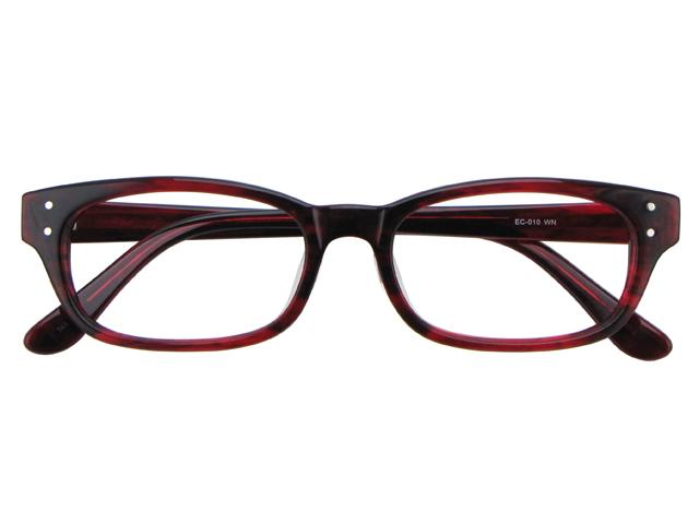 メガネ 度付き/度なし/伊達メガネ セルフレーム(プラスチック) ウェリントン ウエリントン ワインレッド メガネセット EC010-WN【金子眼鏡】【薄型レンズ付】【ケース付】【送料無料】