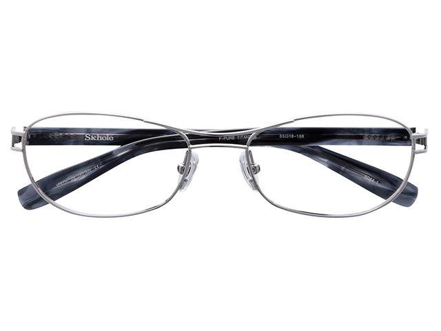 メガネ 度付き/度なし/伊達メガネ スコレー(SKHOLE) 金子眼鏡 メタルフレーム ツーブリッジ ティアドロップ シルバー メガネセット SK6044-1【薄型レンズ付】【送料無料】