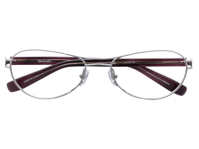 メガネ 度付き/度なし/伊達メガネ スコレー(SKHOLE) 金子眼鏡 メタルフレーム ツーブリッジ ティアドロップ シルバー メガネセット SK6045-2【薄型レンズ付】【送料無料】