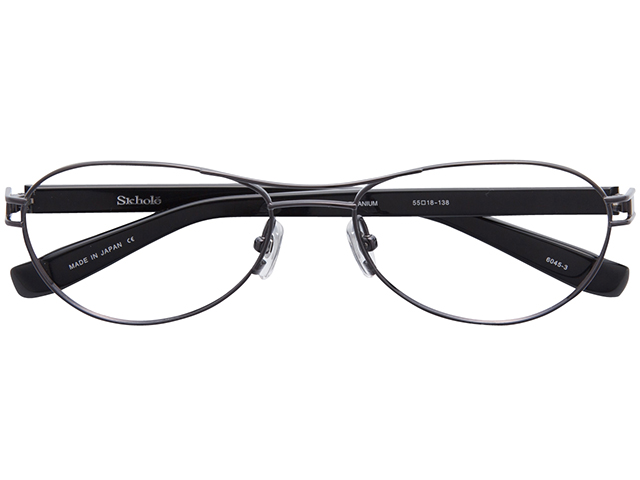メガネ 度付き/度なし/伊達メガネ スコレー(SKHOLE) 金子眼鏡 メタルフレーム ツーブリッジ ティアドロップ ガンメタル メガネセット SK6045-3【薄型レンズ付】【送料無料】