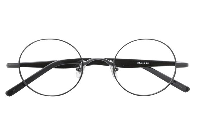 丸メガネ 丸眼鏡 丸めがね メガネ 度付き/度なし/伊達メガネ メタルフレーム ラウンド ブラック 黒 黒ぶち メガネセット EC013-BK【金子眼鏡】【薄型レンズ付】【ケース付】【送料無料】