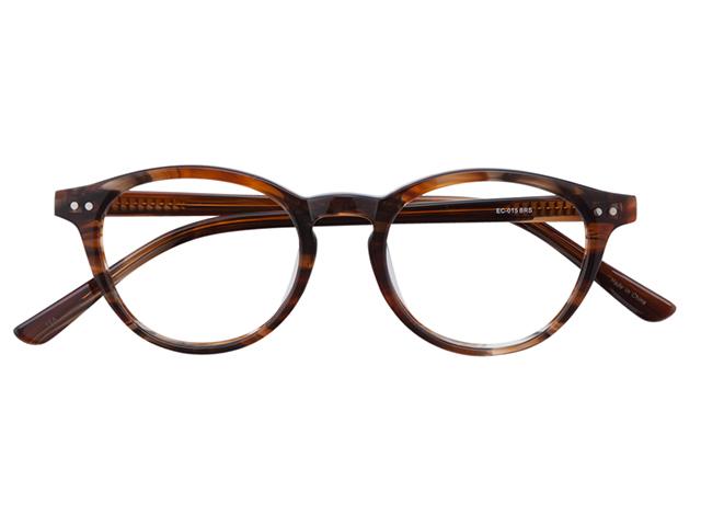 メガネ 度付き/度なし/伊達メガネ セルフレーム(プラスチック) ボストン ウェリントン ウエリントン ブラウン メガネセット EC015-BRS【金子眼鏡】【薄型レンズ付】【ケース付】【送料無料】