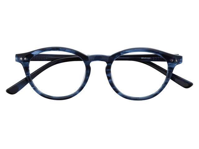 メガネ 度付き/度なし/伊達メガネ セルフレーム(プラスチック) ボストン ウェリントン ウエリントン ネイビー メガネセット EC015-NV【金子眼鏡】【薄型レンズ付】【ケース付】【送料無料】