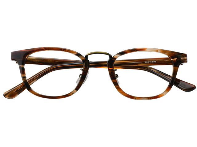 メガネ 度付き/度なし/伊達メガネ セルフレーム(プラスチック) ウェリントン ボストン マンレイ山 ブラウン 鼻パッド付 メガネセット EC016-BRS【金子眼鏡】【薄型レンズ付】 【ケース付】【送料無料】