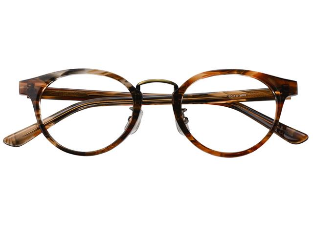 メガネ 度付き/度なし/伊達メガネ セルフレーム(プラスチック) ウェリントン ボストン マンレイ山 ブラウン 鼻パッド付 メガネセット EC017-BRS【金子眼鏡】【薄型レンズ付】 【ケース付】【送料無料】