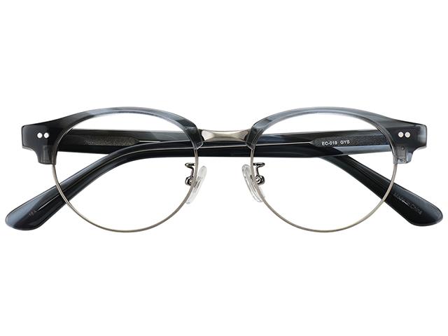 メガネ 度付き/度なし/伊達メガネ セルフレーム(プラスチック) ボストン サーモント ブロー グレー メガネセット EC019-GYS【金子眼鏡】【薄型レンズ付】 【ケース付】【送料無料】