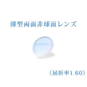 メガネレンズ 薄型両面非球面レンズ 屈折率1.60 超硬質コート UVカット(UV400) 無色 2枚一組 【オプション専用】 商品到着後にレビューを書いて次回使えるクーポンをGET!