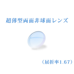 メガネレンズ 超薄型両面非球面レンズ 屈折率1.67 超硬質コート UVカット(UV400) 無色 2枚一組 【オプション専用】 商品到着後にレビューを書いて次回使えるクーポンをGET!