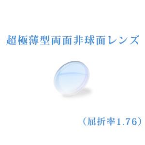 メガネレンズ 世界最薄超極薄型両面非球面レンズ 屈折率1.76 超硬質コートUVカット(UV400) 無色 2枚一組 【オプション専用】商品到着後にレビューを書いて次回使えるクーポンをGET!