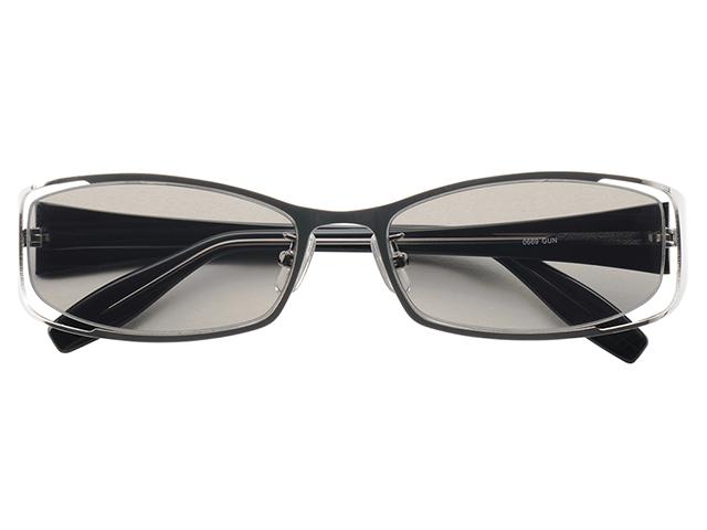 サングラス メタルフレーム スクエア ナイロール ガンメタル メンズ レディース 紫外線カット/UVカット 花粉症対策 美白効果 白内障予防や眼病予防にも最適! 0669GUN