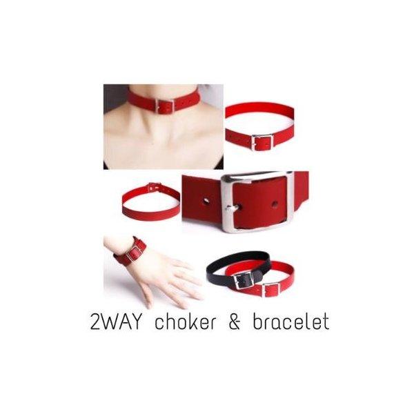 正規取扱店 2Way レザー チョーカー 商い ブレスレットとしても使える レッドカラー メンズ ユニセックス 首輪 レディース ゴスロリ カジュアル コスプレ