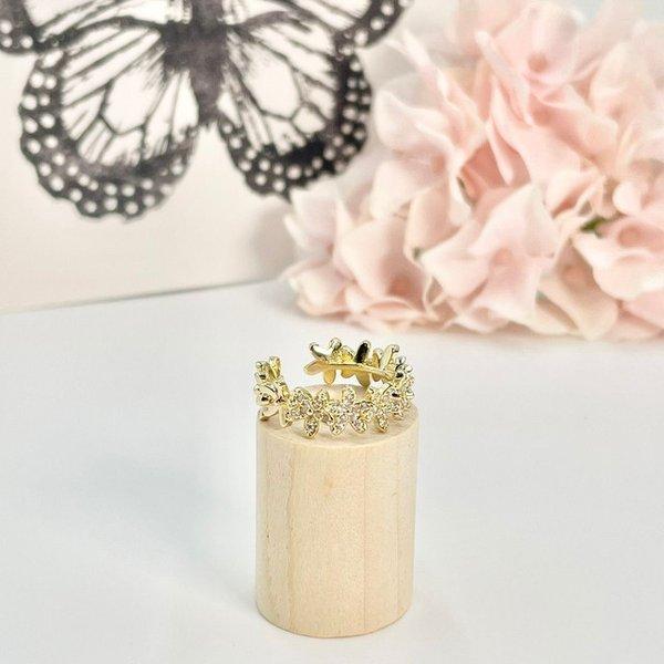 フラワーパヴェリング サイズ調整可能 レディース お花 フラワー パヴェ 安値 指輪 流行り リング アクセサリー プレゼント ゴールド 人気 上品 可愛い
