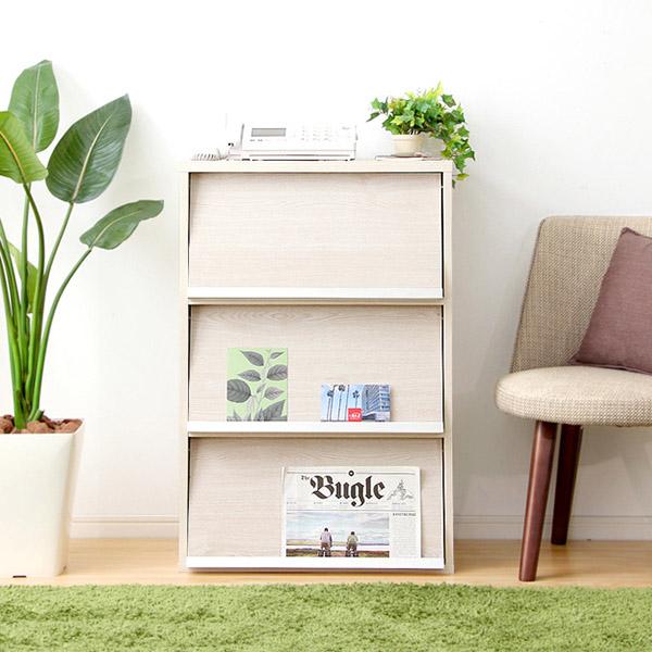 ディスプレイラック 木製 本棚 オープン キャビネット フラップ扉 ホワイト