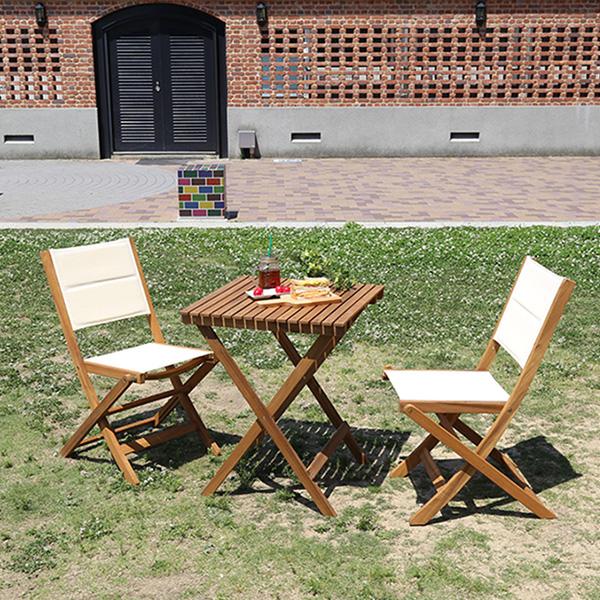 激安通販の ガーデンテーブルセット 3点 折りたたみ 木製 カフェテーブルセット 2人, KupuKupu 5e0ce84d
