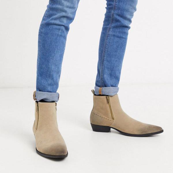京都のセレクトショップdivacloset エイソス ASOS asos DESIGNワイドフィットキューバンヒールウエスタンチェルシーブーツ ストーンフェイクスエード メンズ 靴 インポートブランド 小さいサイズから大きいサイズまで ジッパー付き 男性 送料0円 安い