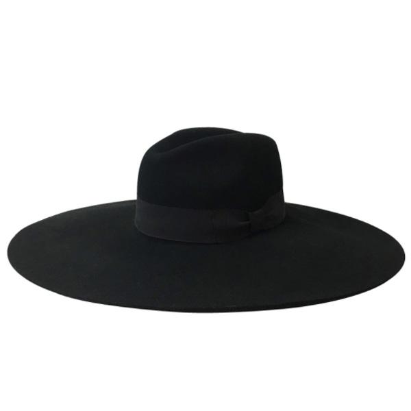 ツバ広 フェルト ハット 帽子 レディース 大きさ選べる ハット帽 ブラック 黒 レディース 高級 20代 30代 40代 ファッション コーディネート オシャレ トレンド 上品 レトロ