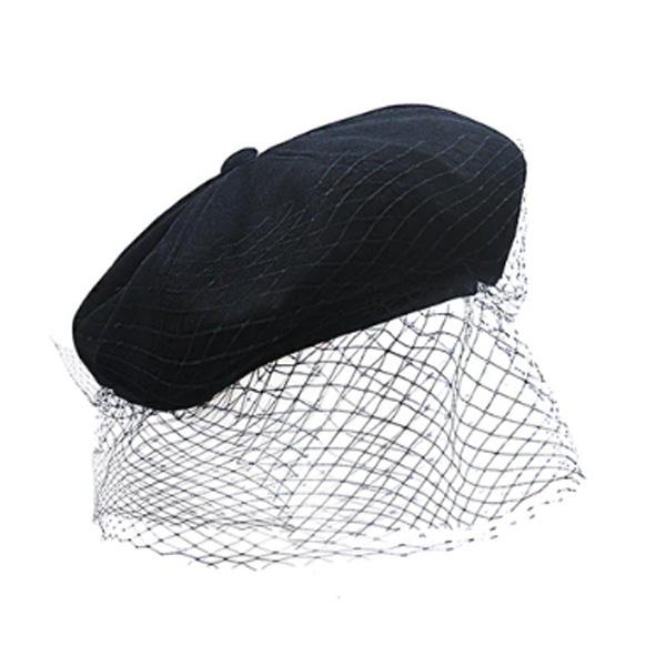 チュール ベレー帽 ハット 帽子 レディース キャスケット 帽子 レディース 20代 30代 40代 ファッション コーディネート オシャレ トレンド 上品 レトロ セレブ ヴィンテージ ブラック