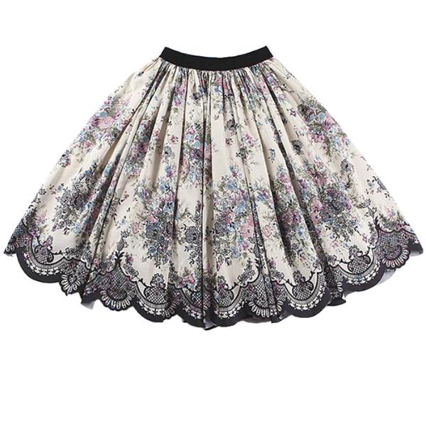 ボリュームスカート ミディアムスカート ベロアウエスト サテンスカート 花柄 ヴィンテージ柄 チュール付きスカート XS~L オードリー タイト フラワープリント Aライン フレア プリンセス 上品 エレガント セレブ 大きいサイズあり