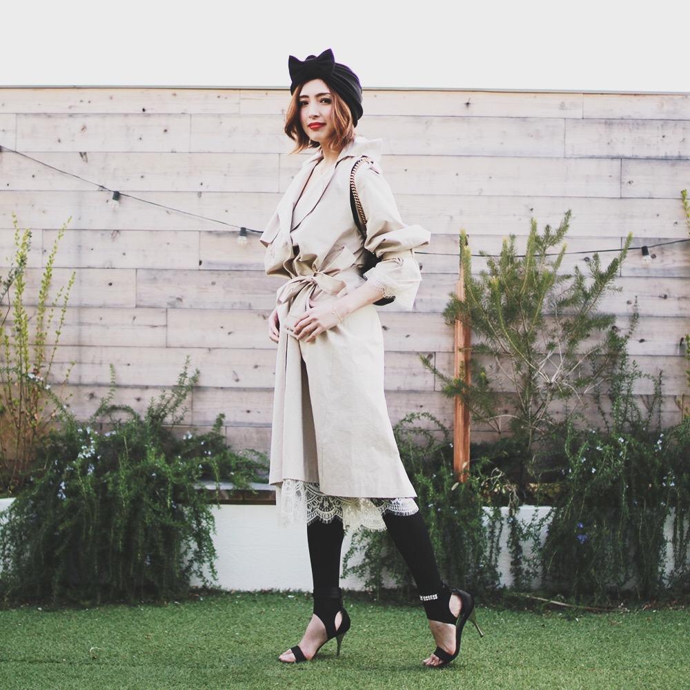 トレンチコート レース アウター ジャケットコート 長袖 レディース 女性 大人可愛い 大人カジュアル 20代 30代 40代 セレクトショップDIVA 韓国ファッション