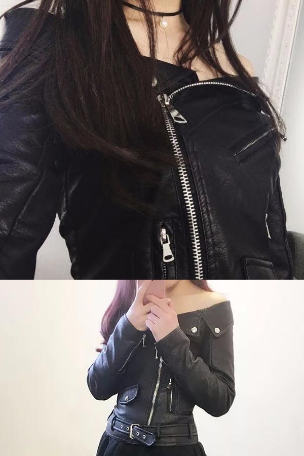 9d979eaa81b950 With sleeve which there is the stylish leather top jacket lady s size sleeve  where black S M L slender casual clothes on the small side is big in the  fall ...
