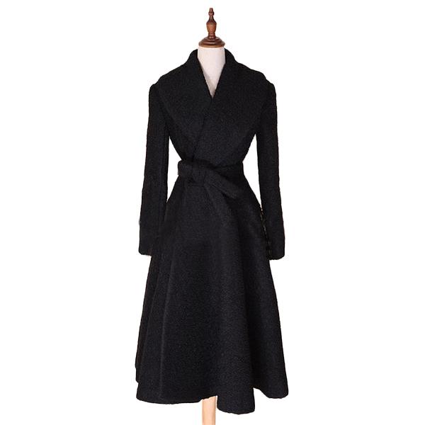 フレアコート/ウェストリボン/パーティーコート/マキシ/ブラック/コート/ミディアムコート/ヴィンテージ コート/オードリート 20代 30代 40代 ファッション コーディネート セレクトショップdivacloset